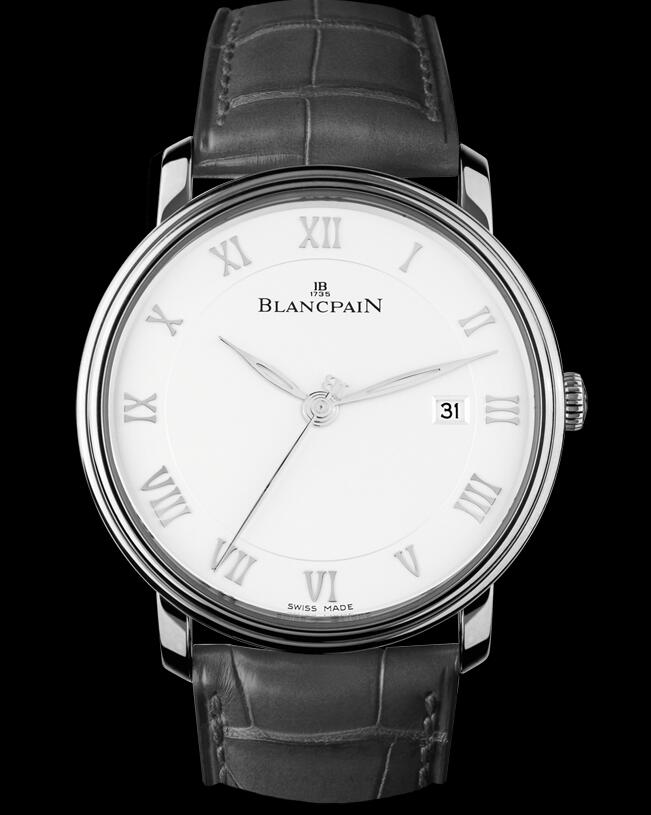 The black leather strap matches the white dial well, making it more suitable for formal occasion.