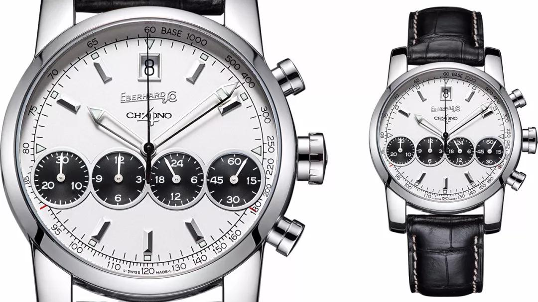 The black counters and slender seconds hand are in contrast to the silver dial.