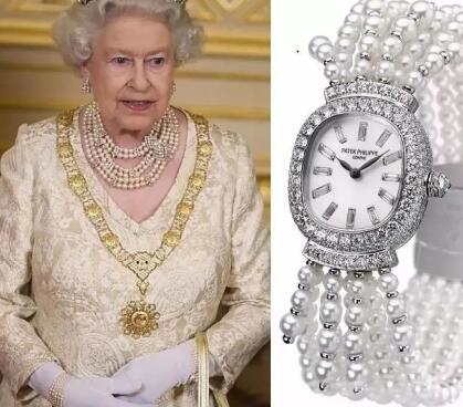 This Patek Philippe made with diamonds and pearls is another wristwatch that Queen usually wears.