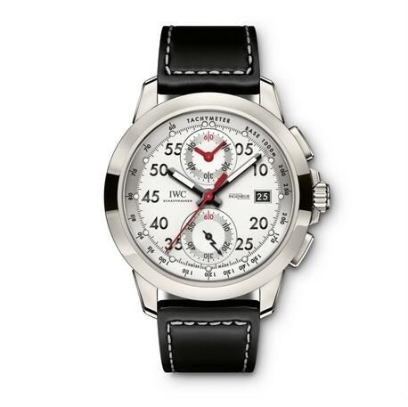 The red hand and black hour markers are striking on the silver dial.