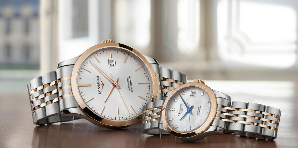 Best-selling duplication watches online are created in stainless steel and pink gold.
