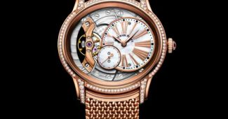 The 18k rose gold copy watches are decorated with diamonds.