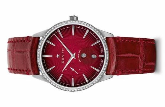 The wine red dials copy watches have moon phases.