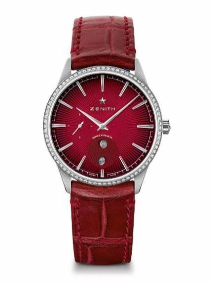 The wine red straps fake watches are decorated with diamonds.