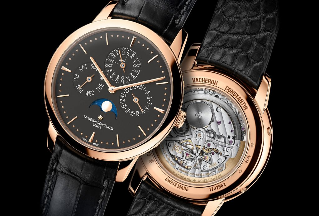 The black dial fake watch has moon phase.