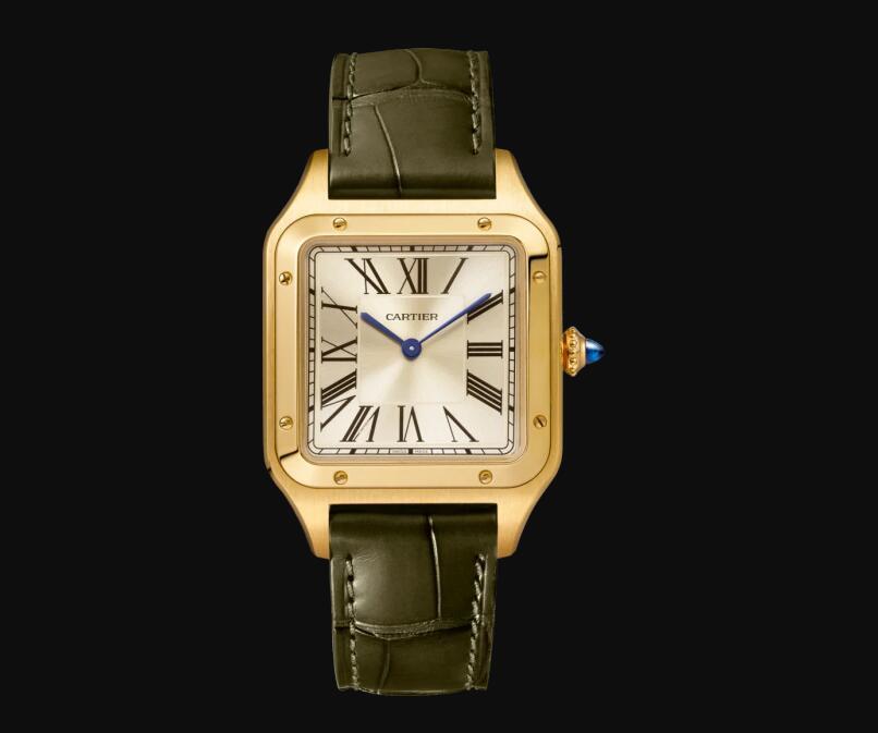 The 18k gold fake watch has dark green strap.